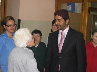 with an elderly at st. Vincent de Paul