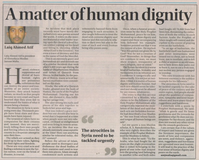 A matter of human dignity