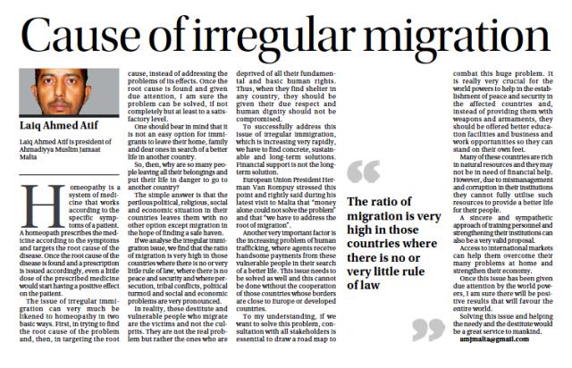 Cause of irregular migration!