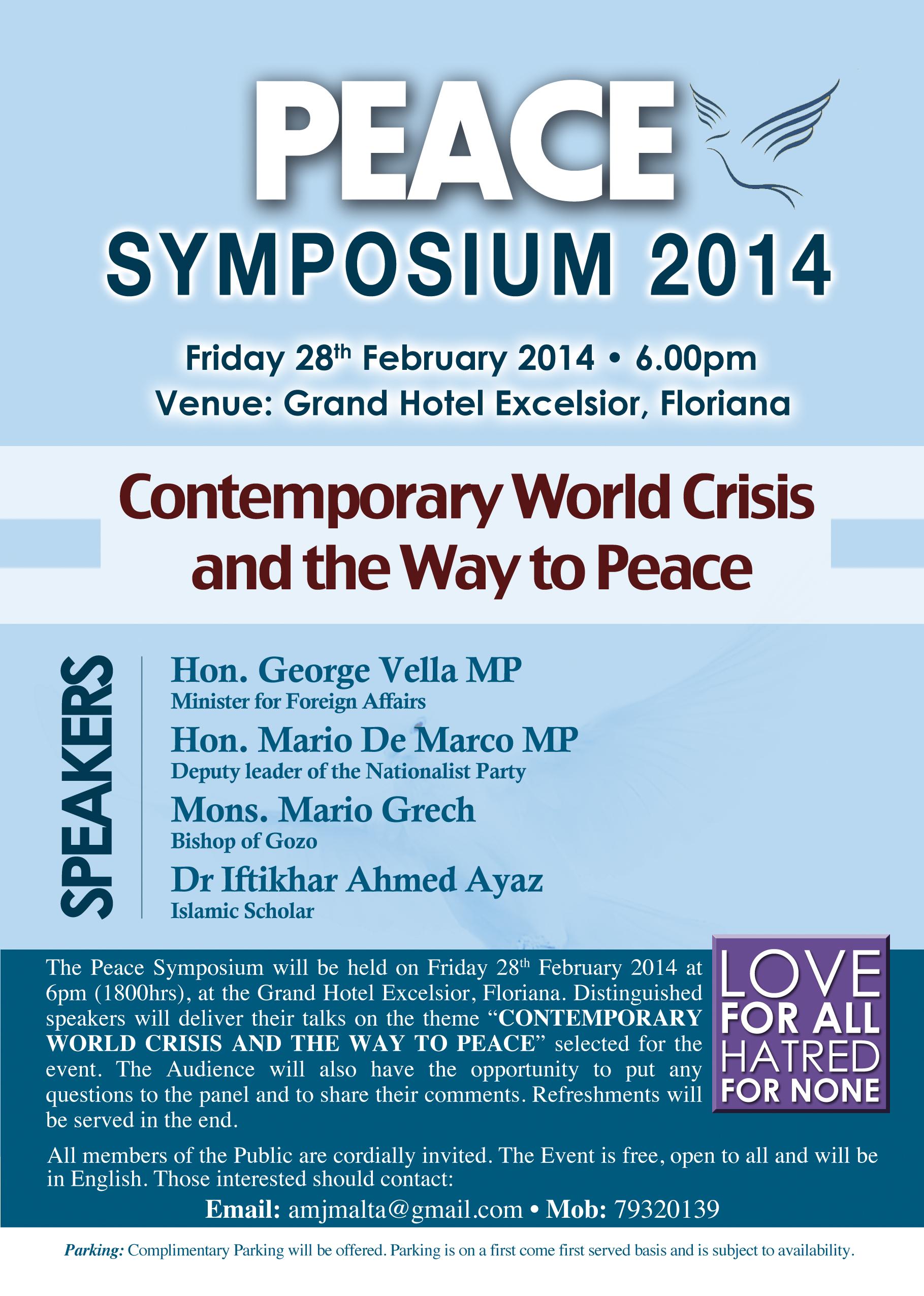 Invitation Peace Symposium 2014 Ahmadiyya Muslim Jamaat Malta