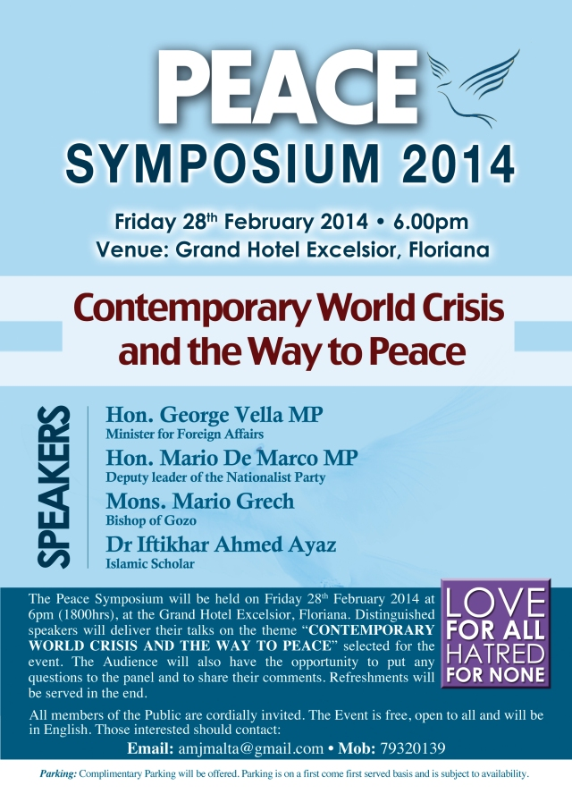 Invitation Peace Symposium 2014