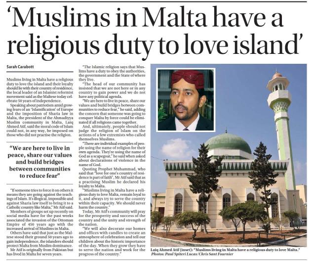 Muslims in Malta have a religious duty to love Malta!