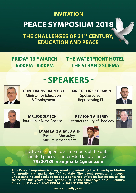 Invitation Peace Symposium 2018 Ahmadiyya Muslim Jamaat Malta